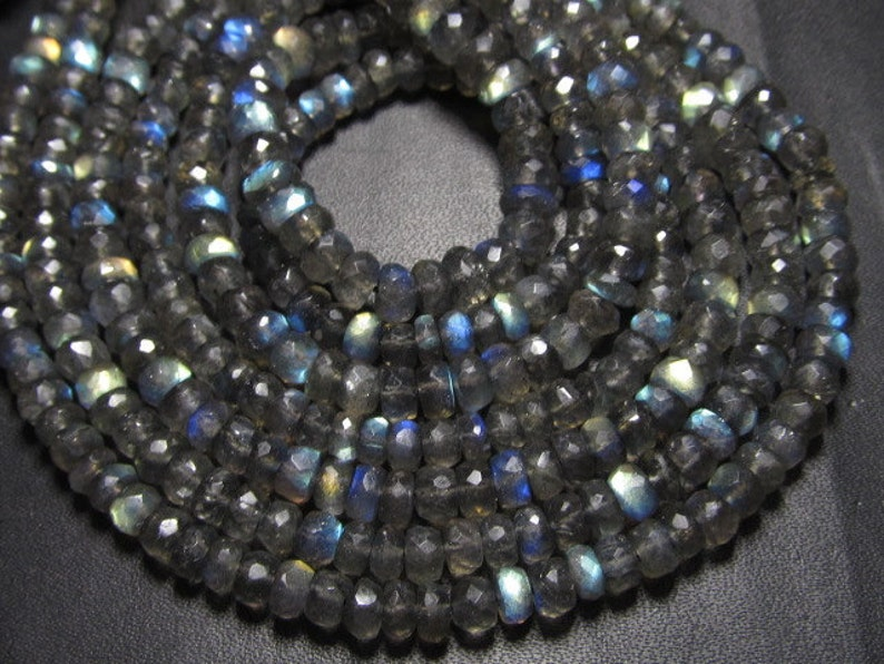 10x14 inches AAA High Quality Gorgeous Full Flashy Fire Labradorite Super Sparle Micro Faceted Rondell Beads size 4.5-5 mm approx