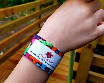 Autism Safety ID Bracelet Autism Awareness Medical Alert Medic Alert Medical ID Autism Fabric Wristband Safety Bracelet Kids Identification