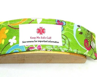 Kid's Fashion Safety ID Medical Alert Wristband Allergy Alert Bracelet - Green Garden