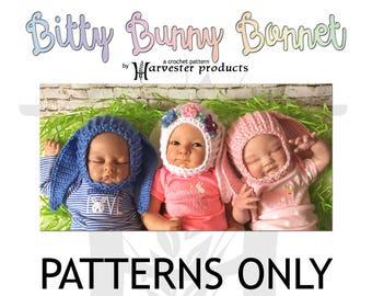 Newborn Bitty Bunny Bonnet Crochet Pattern for babies