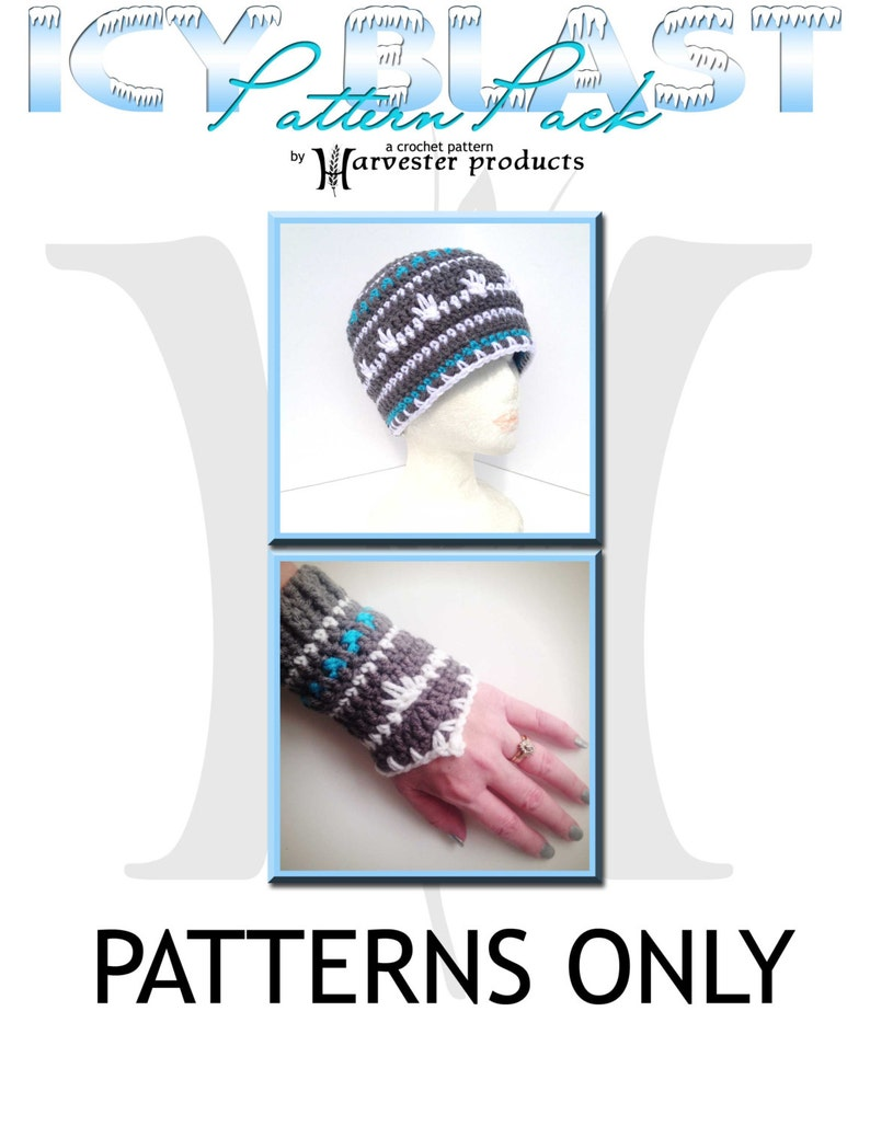Icy Blast Winter Beanie and Wristers Crochet Pattern Pack  image 0