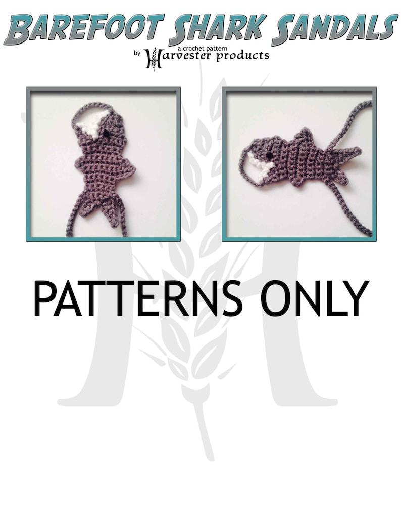 Barefoot Shark Sandals Crochet Pattern Boys Girls image 0