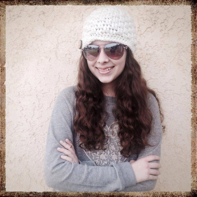 Cassidy Textured Crochet hat with Flip Brim Pattern by image 0