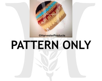 Pocahontas Inspired Striped Crocheted Beanie Hat Pattern