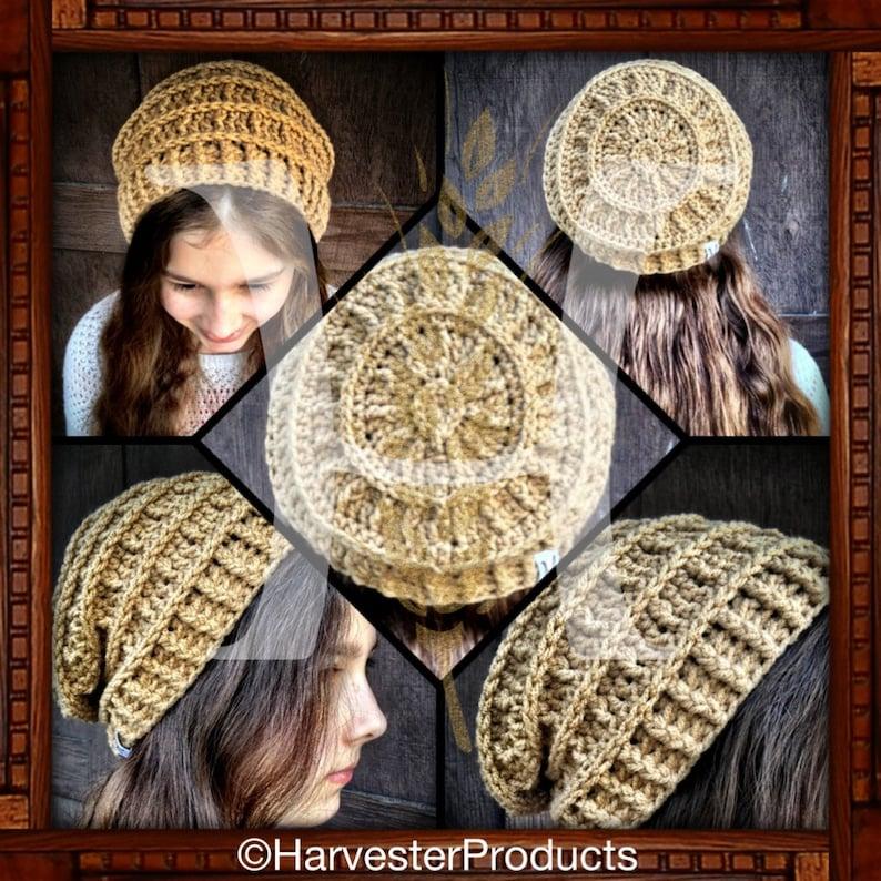 Wagon Wheel Slouch Crochet Textured Hat PATTERN image 0