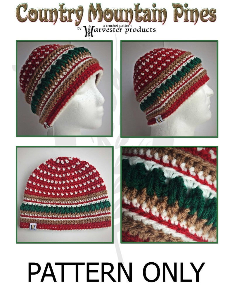 Country Mountain Pines Warm Winter Beanie Crochet Pattern image 0
