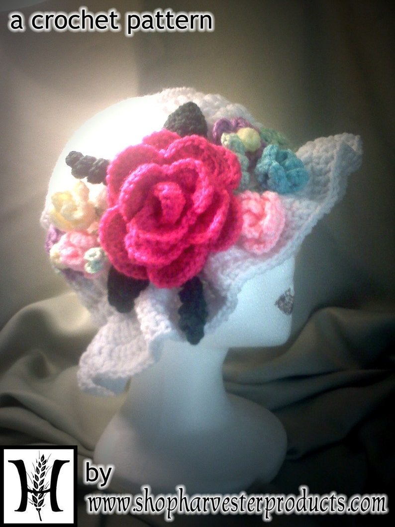 Custom White and Floral Crochet Easter Hat PATTERN image 0