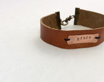 """Leather and Copper """"GRACE"""" cuff bracelet"""
