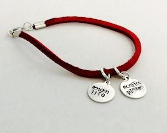 Red Leather bracelet-mom life
