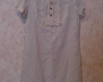 72933c6118 1960s Crochet Bib Linen Shift Dress