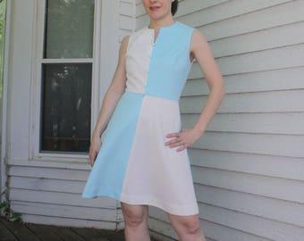 76771afa2d9 60s Mod Dress Color Block Blue White Sleeveless Casual Retro Jerell Vintage  XS