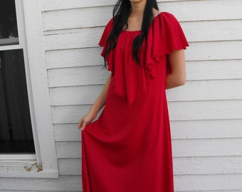 70s Dark Red Maxi Dress Hippie 1970s Long Festival Vintage S
