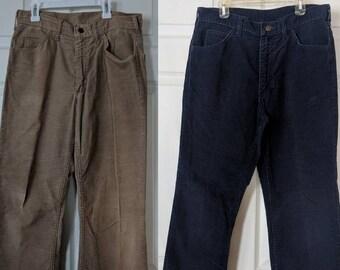 e6c6d4eb 70s Lee Corduroy Pants Dark Blue or Tan Retro Vintage Cotton 31 Waist