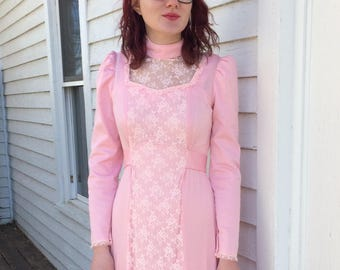 Pink Lace Dress 70s Long Sleeve Maxi Romantic S