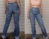 Vintage High Waisted Trousers, Sailor Pants, Jeans 80s Chic Jeans Vintage High Waist Denim Cotton 31 Inseam 26 Waist $38.00 AT vintagedancer.com