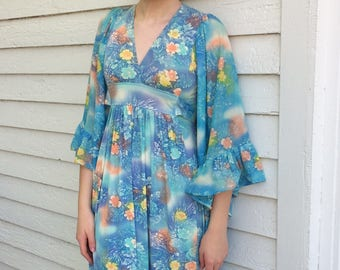 Hippie Dress Angel Sleeves Blue Floral Print Vintage 70s XS
