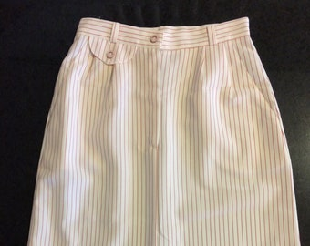 Off White Striped Skirt 70s Midi S Preppy Summer Ivory Red