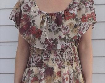 70s Floral Print Maxi Dress Vintage Long Summer JC Penney M L