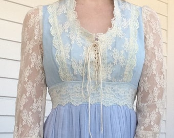 Vintage 70s Dress Blue Prairie Lace Gunne Sax with no tag XS AS IS