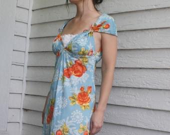 Blue Floral Gown Open Back Maxi Dress 70s 1970s Vintage XS S