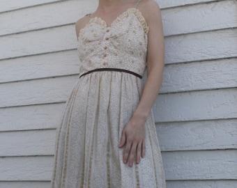 70s Summer Maxi Dress Candi Jones Prairie Floral Print Vintage 1970s XS S Full Length