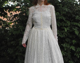 Vintage Wedding Gown Ivory Lace Dress Vintage 40s 50s 1940s 1950s XS S