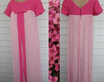 b9c3f74c9f 60s Pink Chiffon Formal Gown Vintage Maxi Prom Dress XS