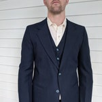 70s Mens Blue Suit Vintage Wedding Formal 36 38 Three Piece