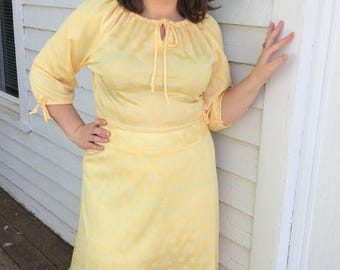 daa88b3bf4f 70s Yellow Hippie Dress Floral Vintage 1970s Lane Bryant L XL