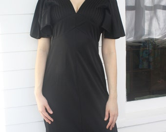 dfc802f8871a 70s Black Dress Maxi Long Vintage 1970s S XS