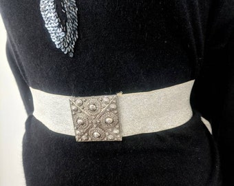 1950s Silver Lurex Crochet Belt and Clutch Women/'s Formal Evening Accessories Vintage 50s Metallic Waist Belt and Purse Set