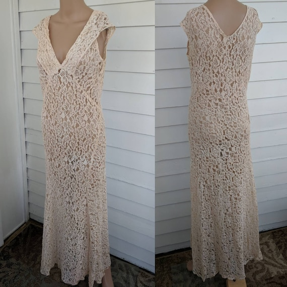 30s Antique Ivory Lace Gown Dress Sheer Deco Brida