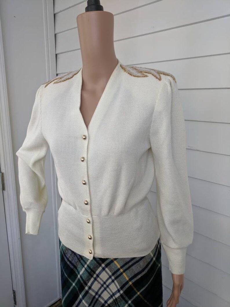 80s Sweater Ivory Beaded Shoulder Jumper Retro Collar Vintage Knit