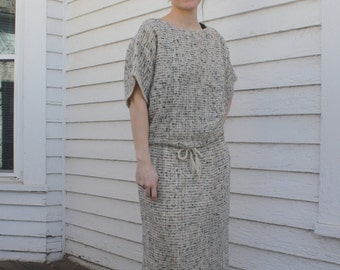 Boxy Knit Drawstring Top and Skirt Sweater Set Beige Ivory S