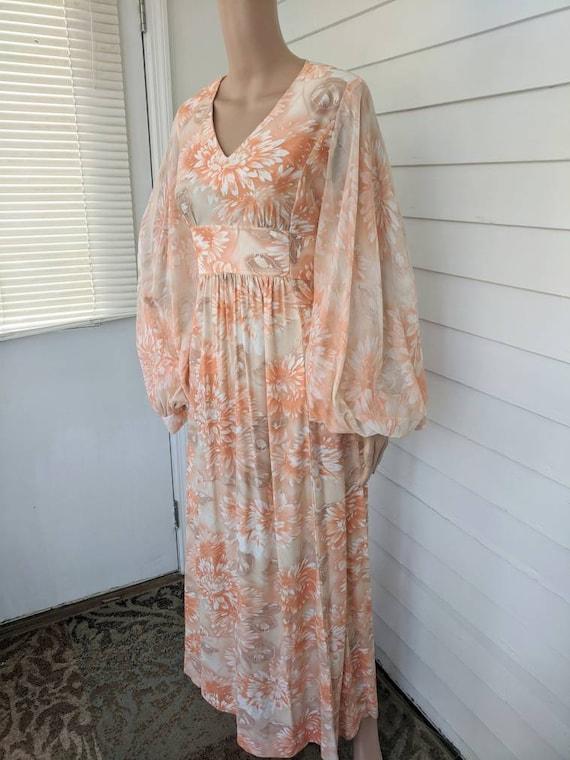 70s Peach Maxi Dress Hippie Floral Long Bishop Sle