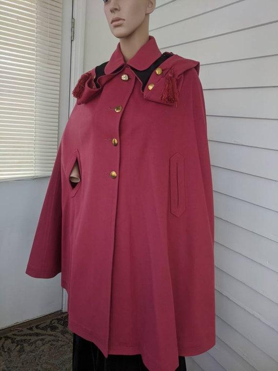 Antique Pink Hooded Cloak Cape Vintage Jacket 20s… - image 3