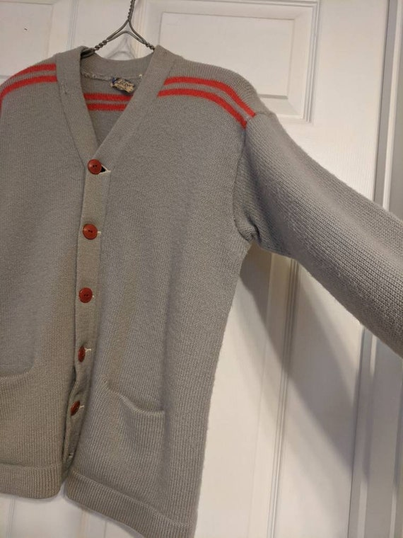 30s 40s Gray Red Striped Cardigan Sweater Mens Al… - image 7