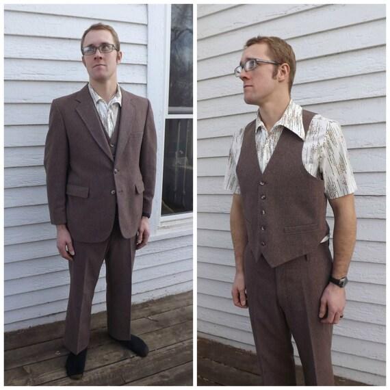 70s Mens Brown Suit Vintage 3 piece 42