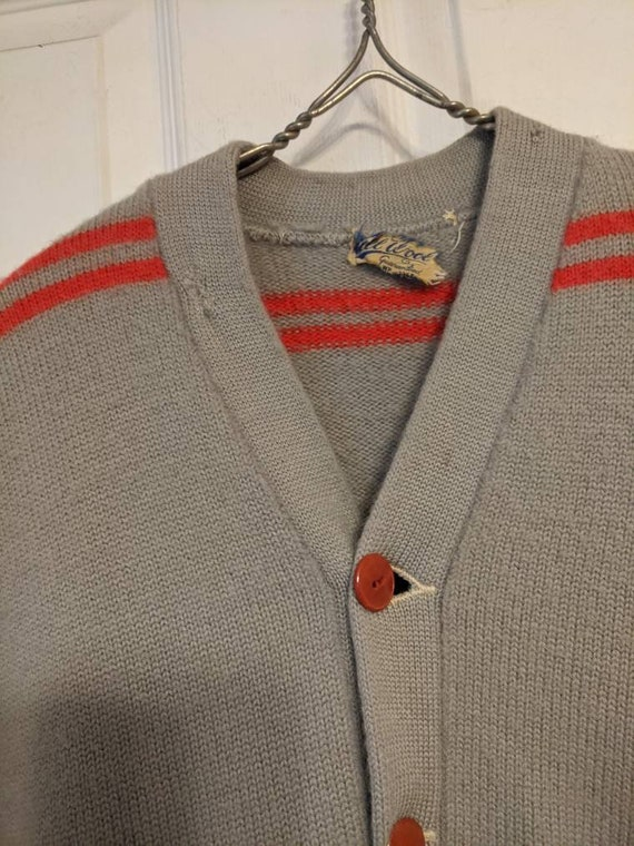 30s 40s Gray Red Striped Cardigan Sweater Mens Al… - image 3