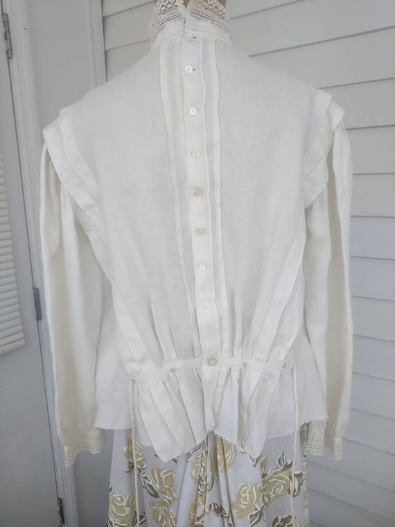 Antique Edwardian Blouse Eyelet Embroidered Butto… - image 4