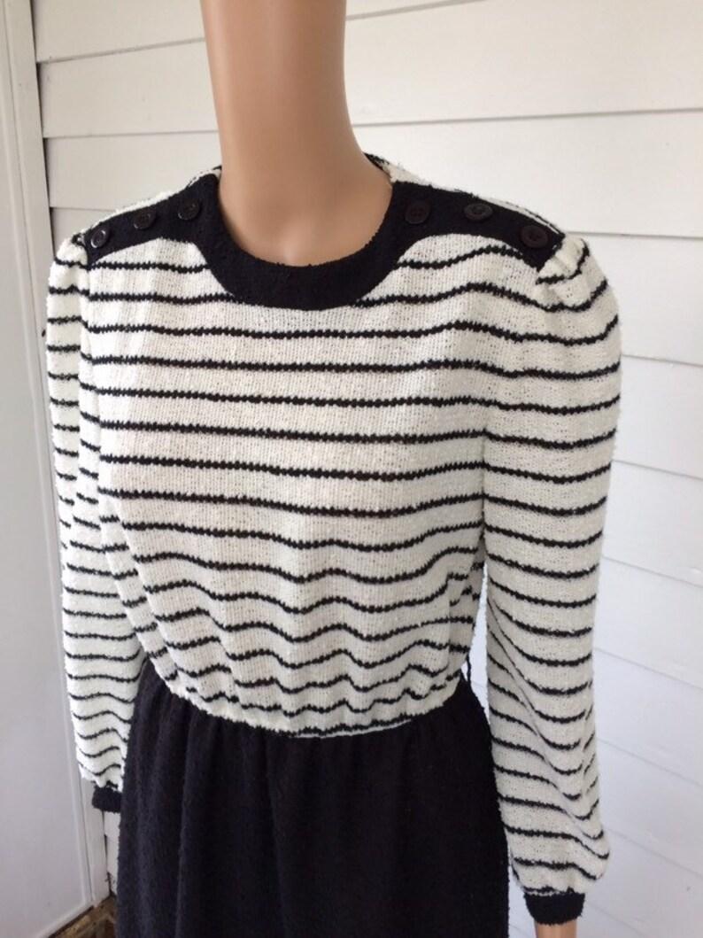 Black White Casual Striped Dress 70s