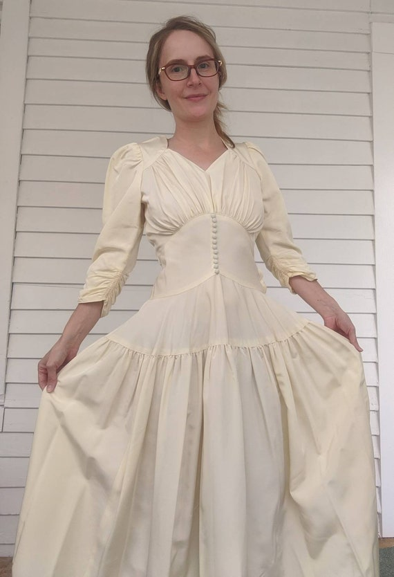 30s 40s Wedding Dress Bridal Gown Ivory XS Formal