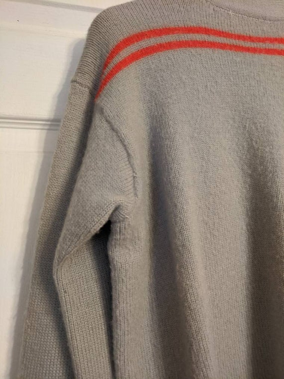 30s 40s Gray Red Striped Cardigan Sweater Mens Al… - image 9