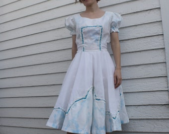 White Blue Print Square Dance Dress H Bar C Vintage S M