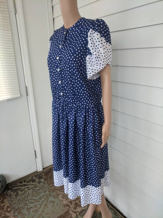 80s Polka Dot Dress Retro Blue 1980s Vintage L - image 6