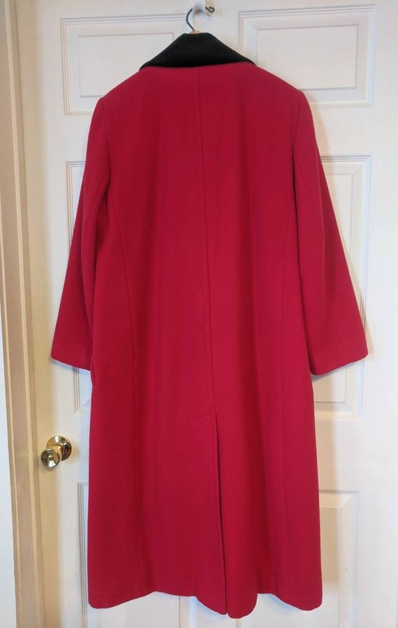 80s Red Winter Coat Wool Donnybrook Velvet Trim R… - image 2