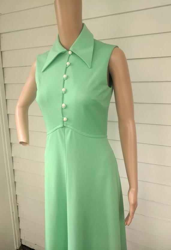Light Green Dress Maxi Mint Vintage 70s S - image 2