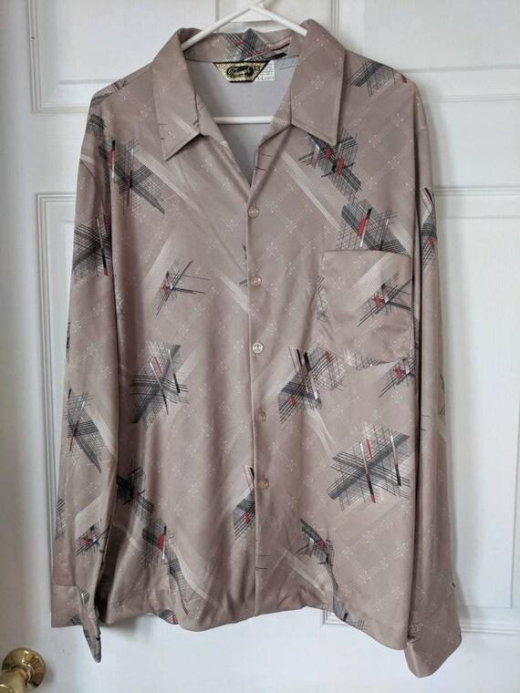 70s Mens Print Shirt Triumph Disco Long Sleeve Vin