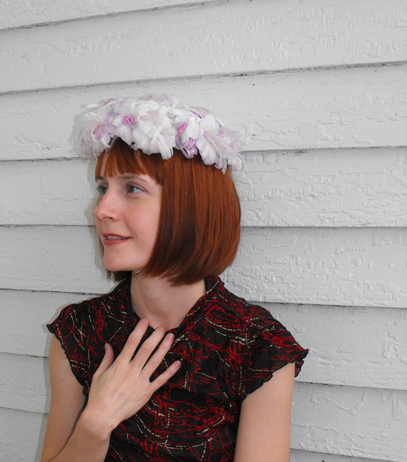 60s White Purple Floral Hat Round Vintage 1960s Easter Spring Fairy