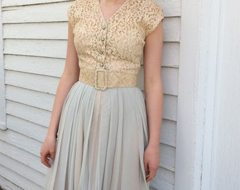 50s Ivory Lace Dress Summer Party Sleeveless Spring Vintage 1950s XS